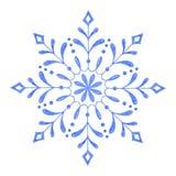 Copo de nieve decorativo pintado a mano de la acuarela ilustración del vector