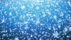 Copo de nieve del globo de la nieve de la Navidad con las nevadas en el Bl almacen de metraje de vídeo