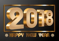 Copo de nieve 2018 del texto del marco del número 3D del oro de la Feliz Año Nuevo en el diseño gris para el vecto del fondo de l libre illustration