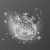 Copo de nieve del vector con textura que brilla, fondo para el invierno y tema de la Navidad Efecto de la helada de la nieve sobr stock de ilustración