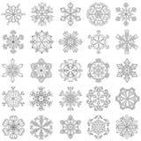 Copo de nieve del vector fijado en estilo del zentangle 25 escamas de la nieve de la original ilustración del vector