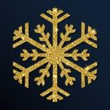 Copo de nieve divino del brillo de oro stock de ilustración