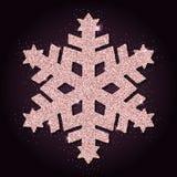 Copo de nieve divino del brillo de oro rosado stock de ilustración