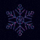 Copo de nieve hecho de estrellas brillantes ilustración del vector