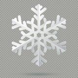 Copo de nieve de papel doblado realista blanco de la Navidad con la sombra aislada en fondo transparente EPS 10 ilustración del vector