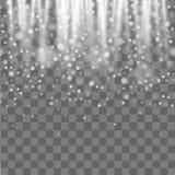 Copo de nieve que cae en fondo transparente Fondo del invierno Vector Imágenes de archivo libres de regalías