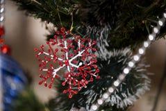 Copo de nieve rojo y blanco del día de fiesta de la Navidad en árbol de los xmass Imagen de archivo libre de regalías