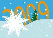 Copo de nieve sobre los números del Año Nuevo Imagen de archivo