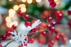 Copo de nieve y baya del día de fiesta en fondo defocused Foto de archivo libre de regalías