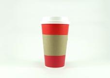 Copo de papel do café vermelho com espaço da cópia para o texto Imagens de Stock Royalty Free