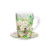 Copo de vidro com o ornamento floral pintado Fotos de Stock