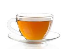 Copo de vidro do chá verde fotografia de stock royalty free