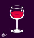 Copo de vinho 3d clássico colocado sobre o fundo escuro, tema da bebida Fotografia de Stock