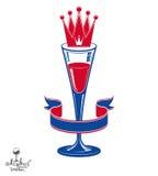 Copo de vinho 3d luxuoso realístico com coroa do rei, mal do tema do álcool Fotografia de Stock