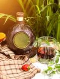 Copo de vinho e garrafa redonda tradicional imagem de stock