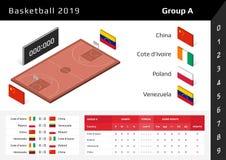 Copo 2019 do basquetebol corte 3D isométrica Ajuste do grupo A das bandeiras nacionais ilustração stock