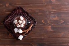 Copo do cacau com marshmallows e canela, vista superior fotografia de stock royalty free