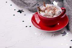 Copo do cacau quente com marshmallow imagem de stock