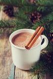 Copo do cacau quente ou do chocolate quente no fundo de madeira com árvore de abeto e das varas de canela, bebida tradicional pel Imagens de Stock Royalty Free