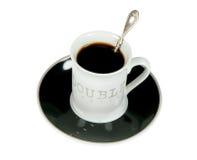 Copo do café preto com a colher Fotografia de Stock Royalty Free
