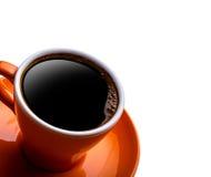 Copo do café preto isolado no branco fotografia de stock