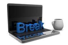 Copo do cappuccino com portátil Imagens de Stock