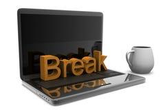 Copo do cappuccino com portátil Foto de Stock Royalty Free