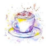 Copo do cappuccino do café watercolor ilustração stock