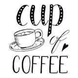 Copo do chá, café Ilustração tirada mão do esboço no fundo branco, elementos do projeto Projeto do menu lettering ilustração royalty free