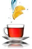 Copo do chá com as fatias do limão isoladas Foto de Stock Royalty Free