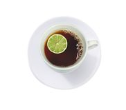 Copo do chá com cal (limão) Fotografia de Stock