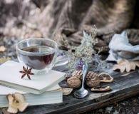 Copo do chá com folhas de outono Fotos de Stock Royalty Free