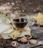 Copo do chá com folhas de outono Imagens de Stock Royalty Free
