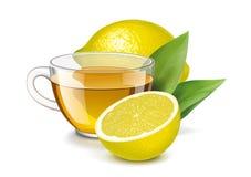 Copo do chá com limão e folhas ilustração stock