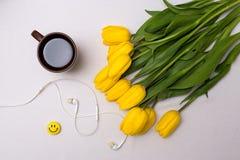 Copo do chá e das tulipas Foto de Stock Royalty Free