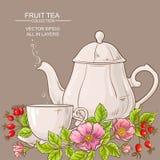Copo do chá e do bule cor-de-rosa do cão Imagens de Stock Royalty Free