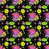 Copo do chá e dos limões Fotografia de Stock