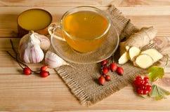 Copo do chá, fatias de gengibre, mel, bagas do rosehip e viburnum Fotos de Stock Royalty Free