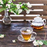 Copo do chá do jasmim e potenciômetro transparente do chá na tabela de madeira Tea party da mola Copie o espa?o imagens de stock royalty free