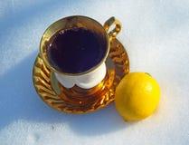 Copo do chá na neve fotografia de stock