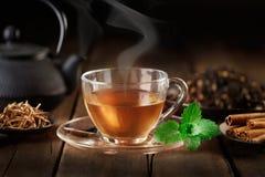 Copo do chá quente com bule, hortelã e especiarias fotos de stock