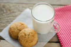 Copo do leite com cookies de farinha de aveia Fotografia de Stock Royalty Free
