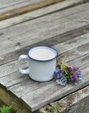 Copo do leite com grupo da flor nas pranchas de madeira verticais Fotos de Stock