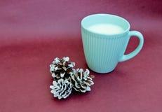 Copo do leite e dos cones Fotografia de Stock Royalty Free