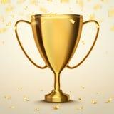 Copo do troféu com confetes dourados Fundo do vetor Conceito do vencedor Imagens de Stock Royalty Free