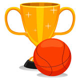 Copo do troféu com futebol com basquetebol Fotografia de Stock