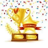 Copo do vencedor com conceito da medalha de ouro Fotos de Stock