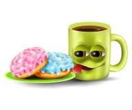 Copo e anéis de espuma engraçados de café Imagens de Stock