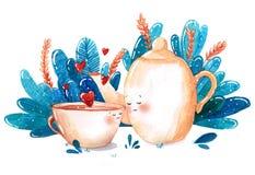 Copo e chaleira de chá da aquarela no amor no fundo azul erval Foto de Stock Royalty Free