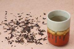 Copo e folha de chá de chá Foto de Stock